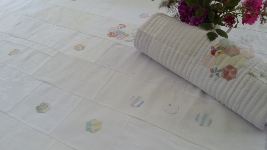 huckerbuck damask quilt worn and washed fabrics